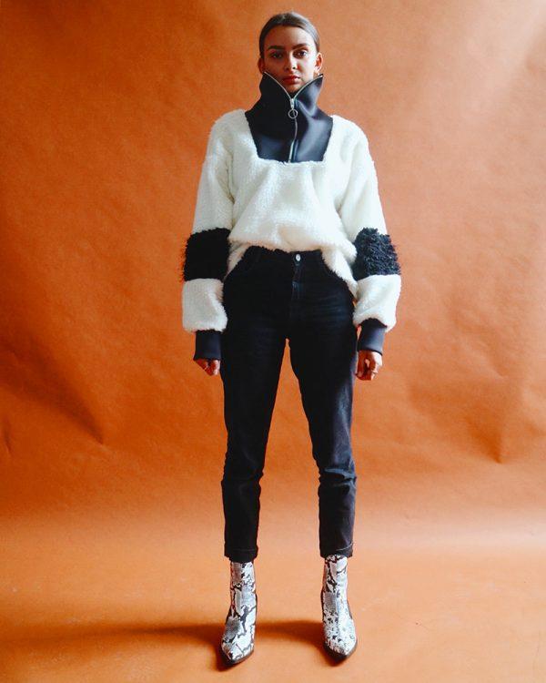 FINLEY White Drop Shoulder Sweatshirt   TDS