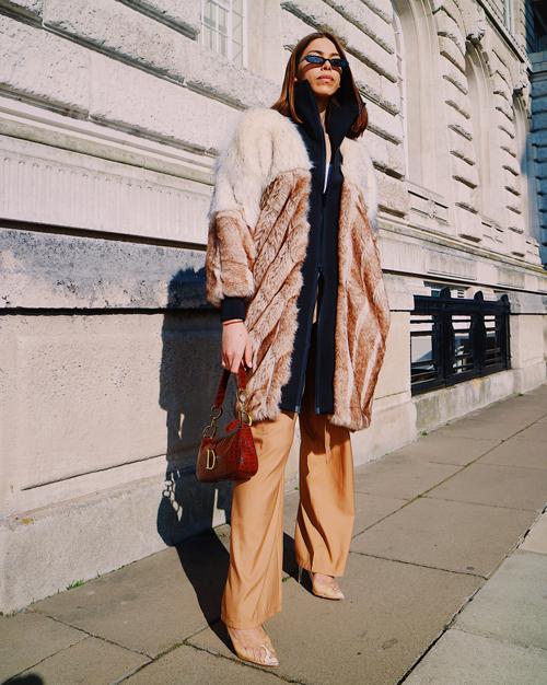 DHARMA Brown/Beige Faux Fur Coat | TDS