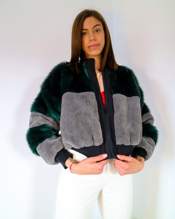 AMEILA Green Faux Fur Bomber Jacket | TDS