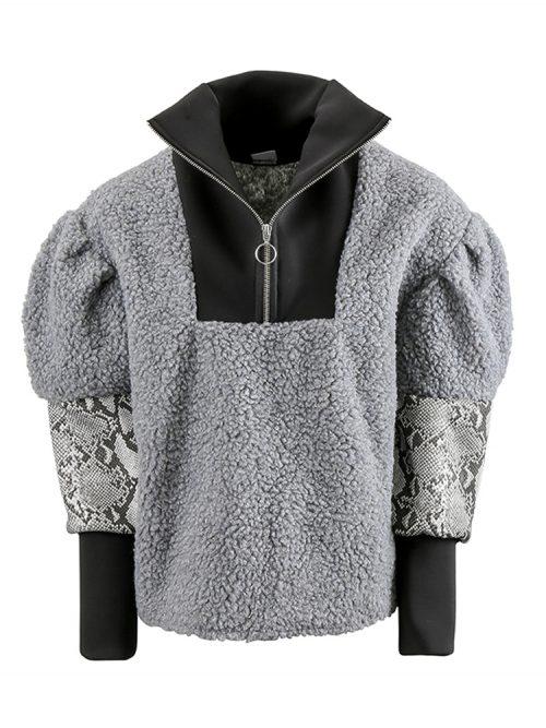 CIERA Grey Faux Shearling Sweatshirt   TDS