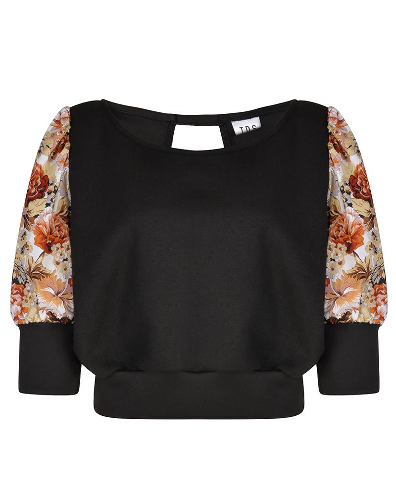 MAYA Black Puff Sleeve Summer Top | TDS