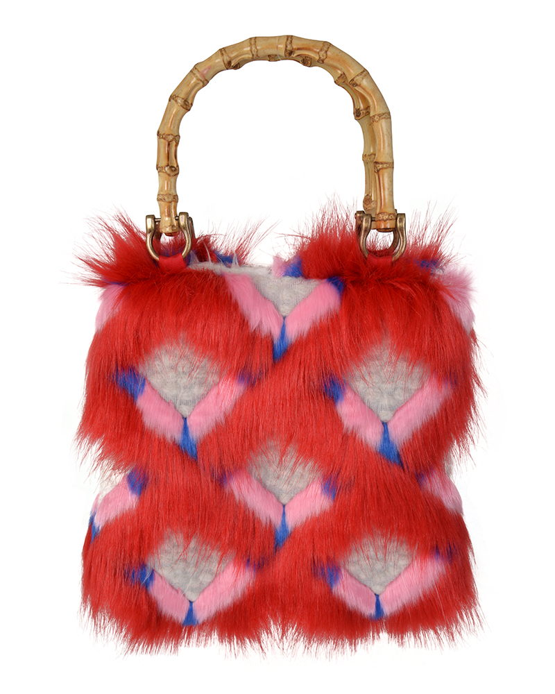 REN Red Faux Fur Tote Bag | TDS