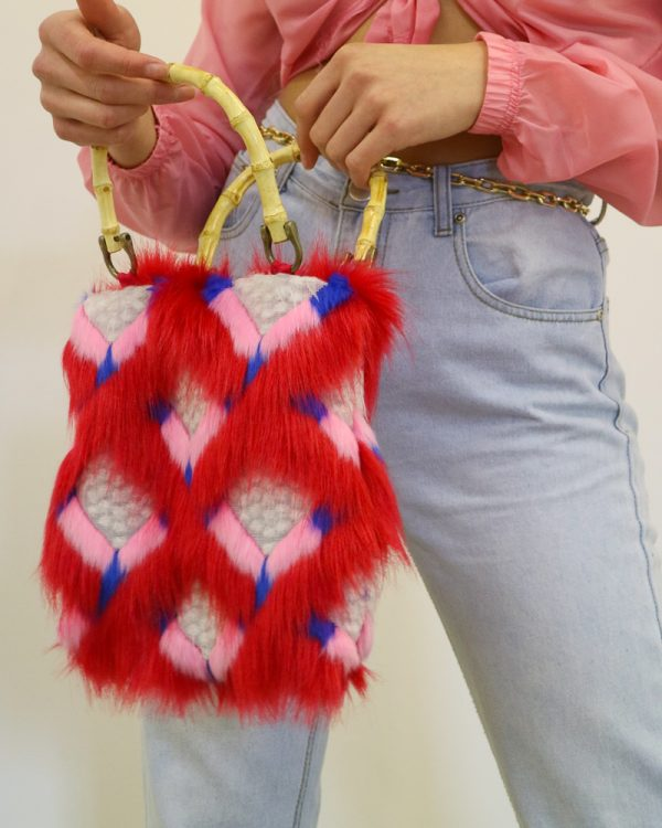 REN Red Faux Fur Tote Bag | TDS
