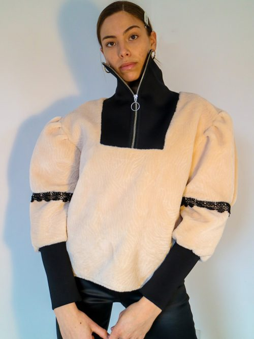 ELEANOR Beige Drop Shoulder Sweatshirt | TDS