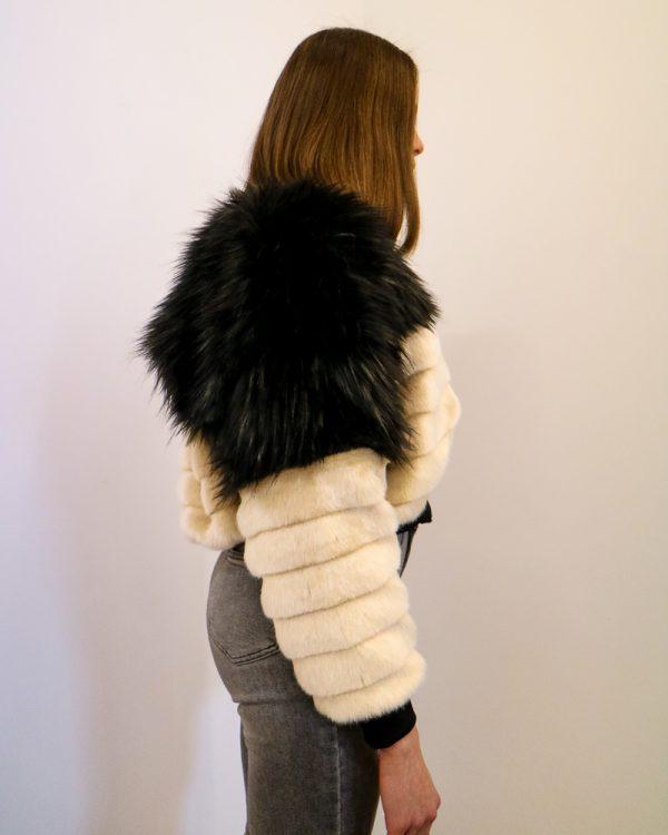 GABRIELLE Beige Faux Fur Bomber Jacket | TDS