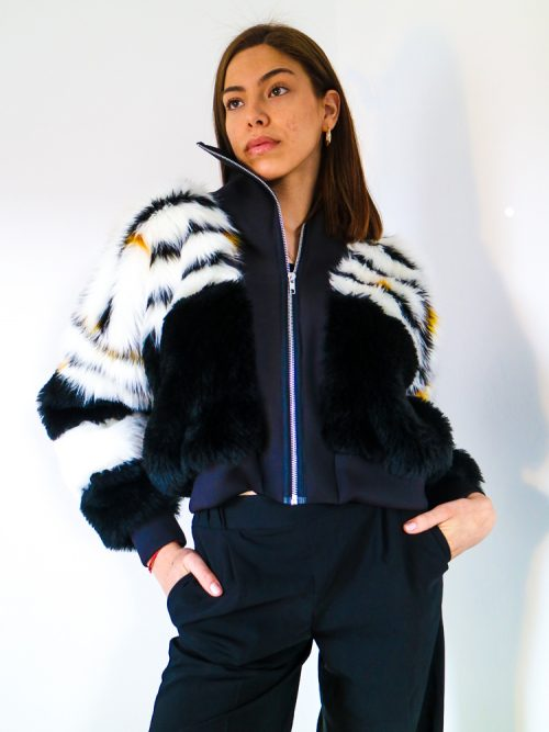 AMBER Black High Neck Faux Fur Bomber Jacket | TDS