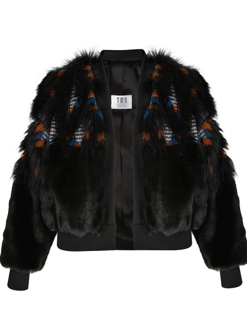 BRIENNE Black Faux Fur Bomber Jacket