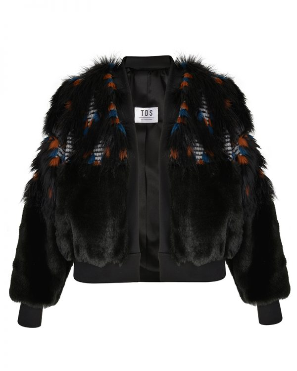 BRIENNE Black Faux Fur Bomber Jacket