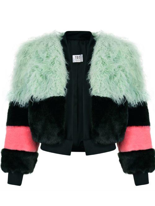 EMIRA Faux Fur Bomber Jacket w/ Mint Green Shearling | TDS