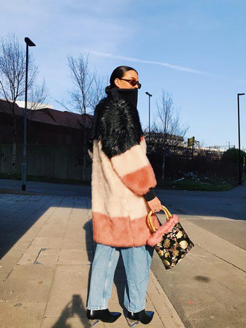 DAPHNE Black/Pink Faux Fur Coat | TDS