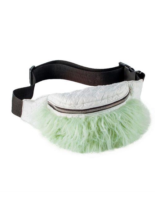 INDIE Green Faux Fur Bum Bag | TDS