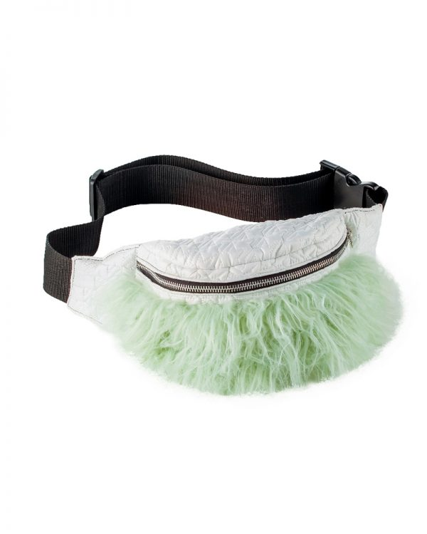 INDIE Green Faux Fur Bum Bag | TDS