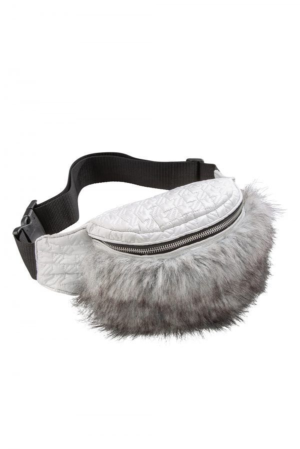 INGRID Grey Faux Fur Bum Bag | TDS