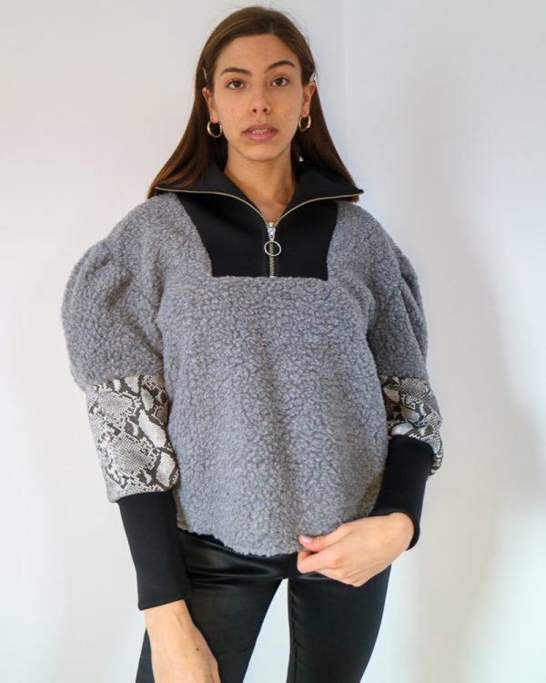 CIERA Grey Faux Shearling Sweatshirt | TDS