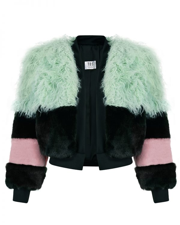 KELLY Black/Green Faux Fur Bomber Jacket |TDS