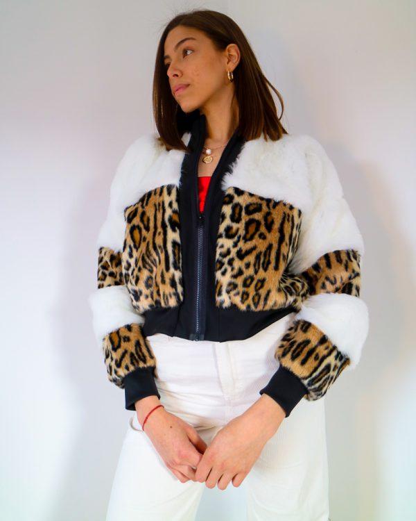 ABLEO Leopard Print Faux Fur Bomber Jacket | TDS