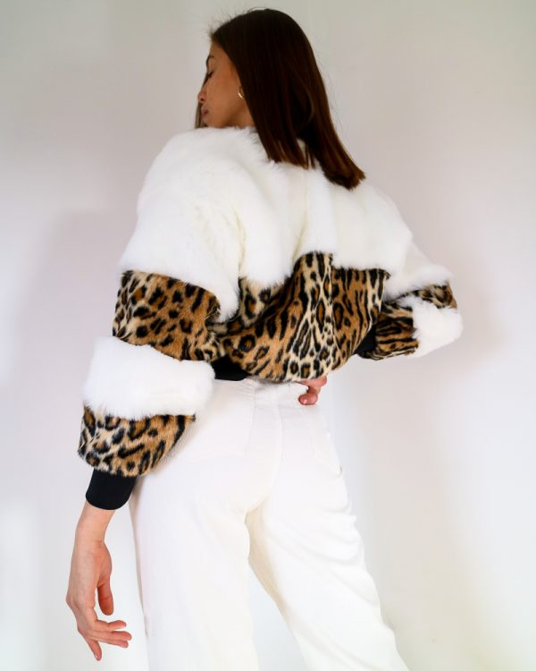 ABLEO Leopard Print Faux Fur Bomber Jacket   TDS