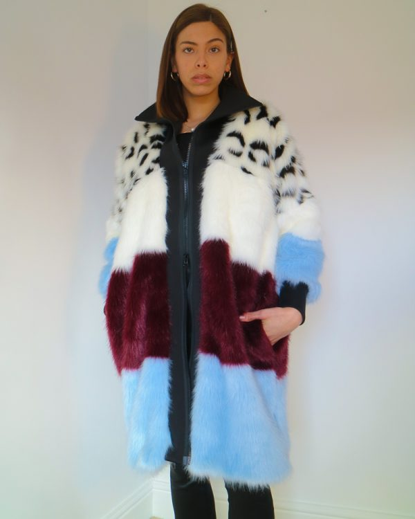 EUROPA Blue/Burgundy Faux Fur Coat | TDS