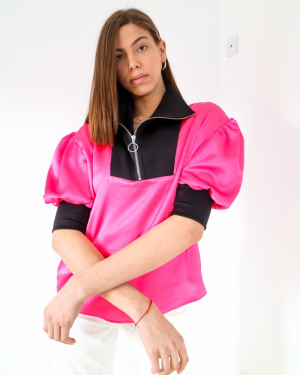 FABIENNE Pink Satin Balloon Sleeve Top | TDS