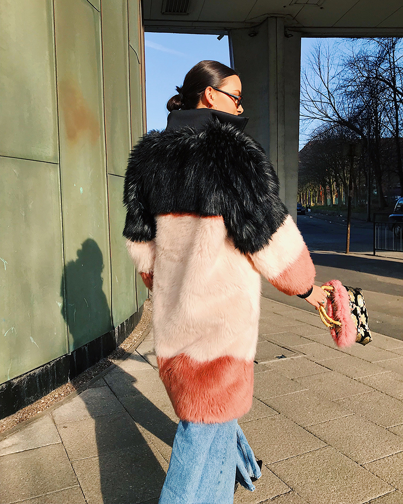DAPHNE Black/Pink Faux Fur Coat | TDS