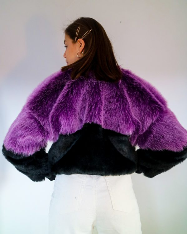 PRUNA Purple Faux Fur Bomber Jacket | TDS
