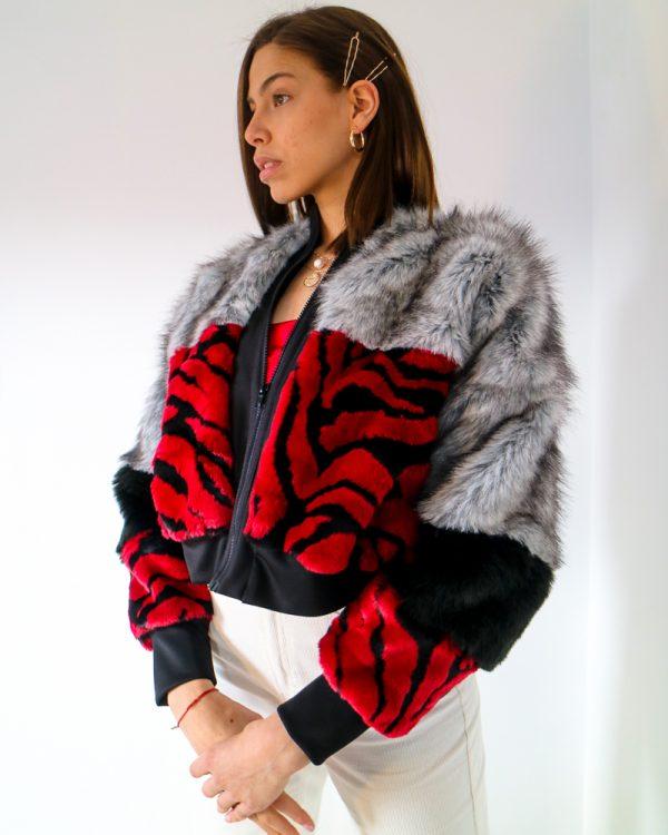 AELIA Red Zebra Print Faux Fur Bomber Jacket | TDS