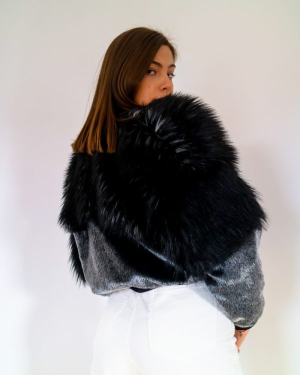 ABERY Silver Faux Fur Bomber Jacket | TDS