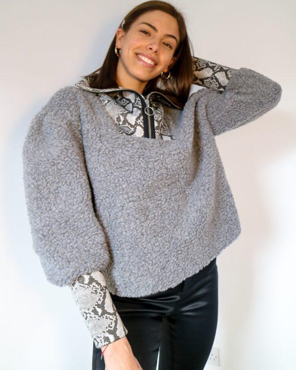 ALICIA Grey Faux Shearling Sweatshirt w/ Snake Print Detailing | TDS