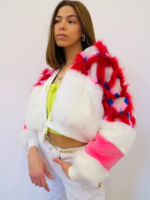 ANAY Faux Fur Bomber Jacket w/ Chevron Yoke