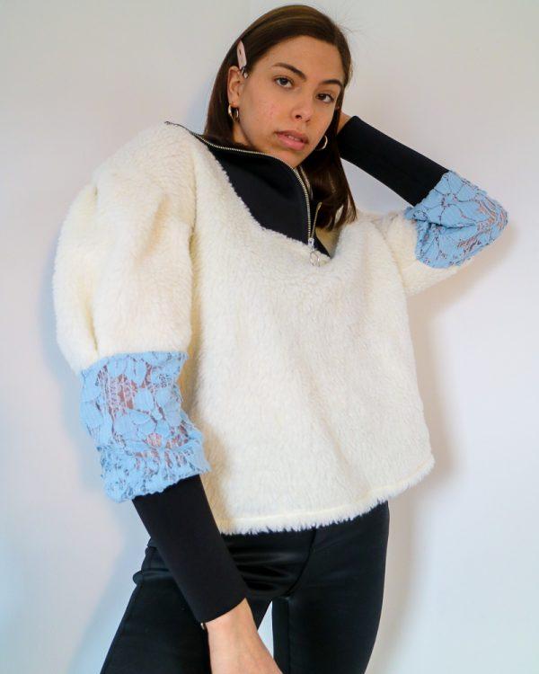 AIDA White Faux Shearling Sweatshirt | TDS