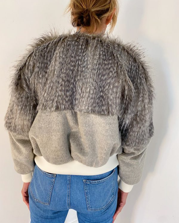 Faux Fur Jacket In Grey Color