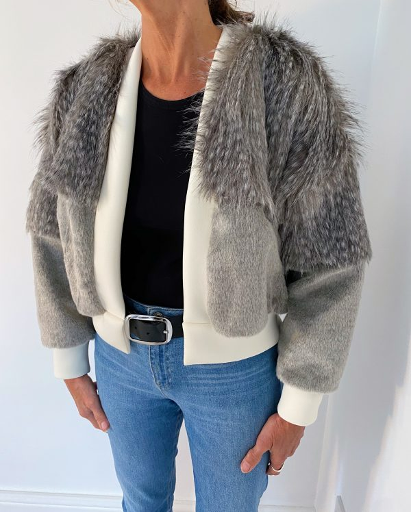 Faux Fur Jacket In Grey Color 2