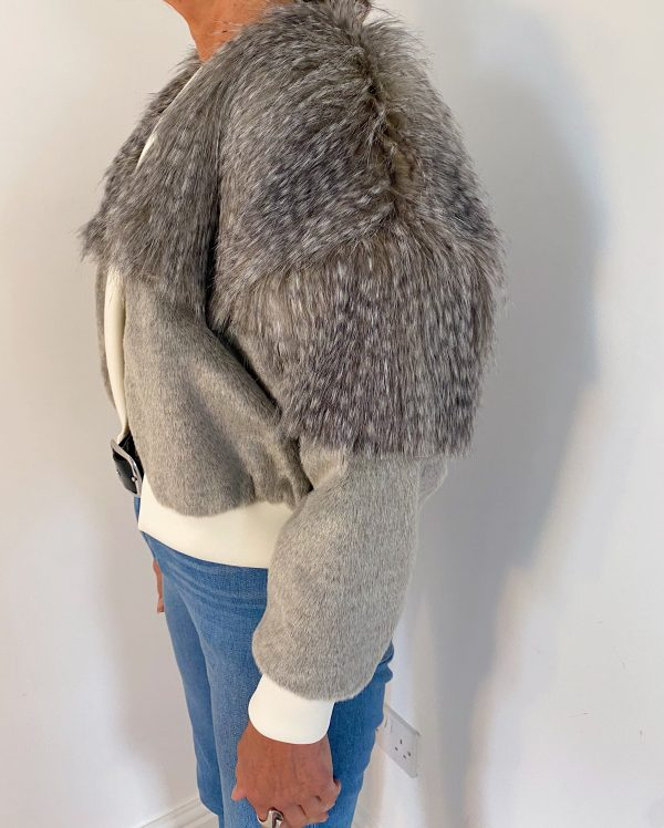 Faux Fur Jacket In Grey Color 1