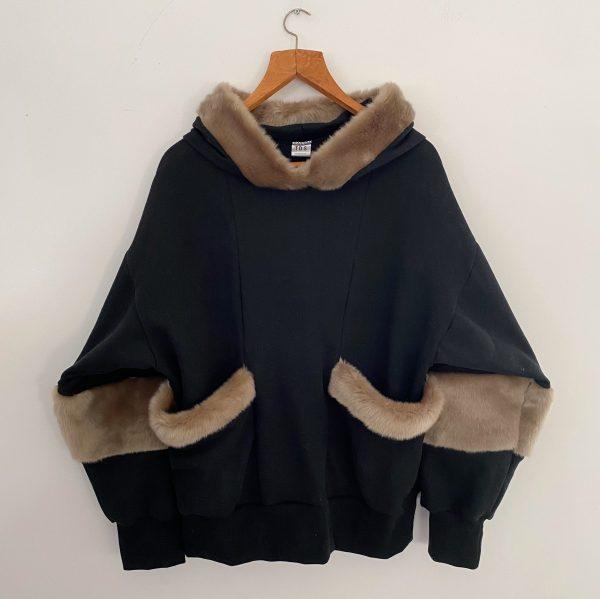 Black Sweat Shirt With Faux Fur 4