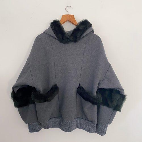 Grey Sweat Shirt With Black Faux Fur