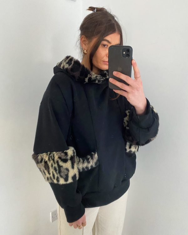Black Sweatshirt With Cream Faux Fur