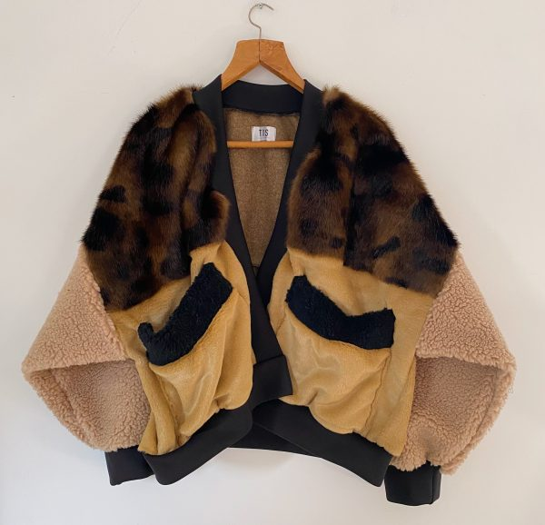 Brown And Cream Bomber Jacket