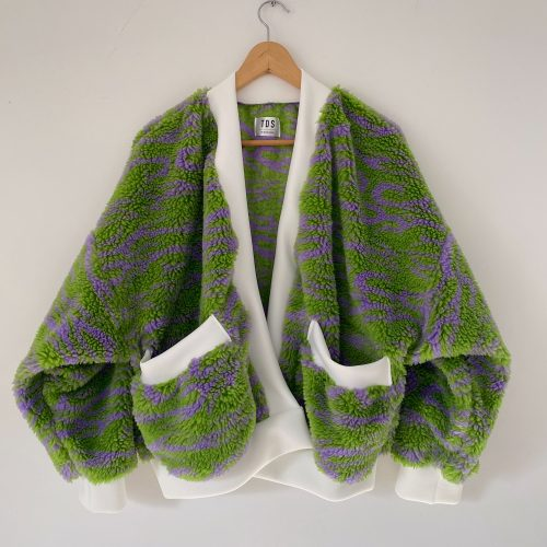 Green And Purple Cardigan For Girls