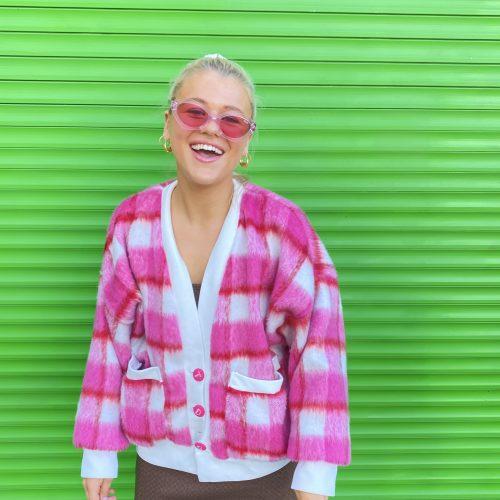 pink summer check cardigan