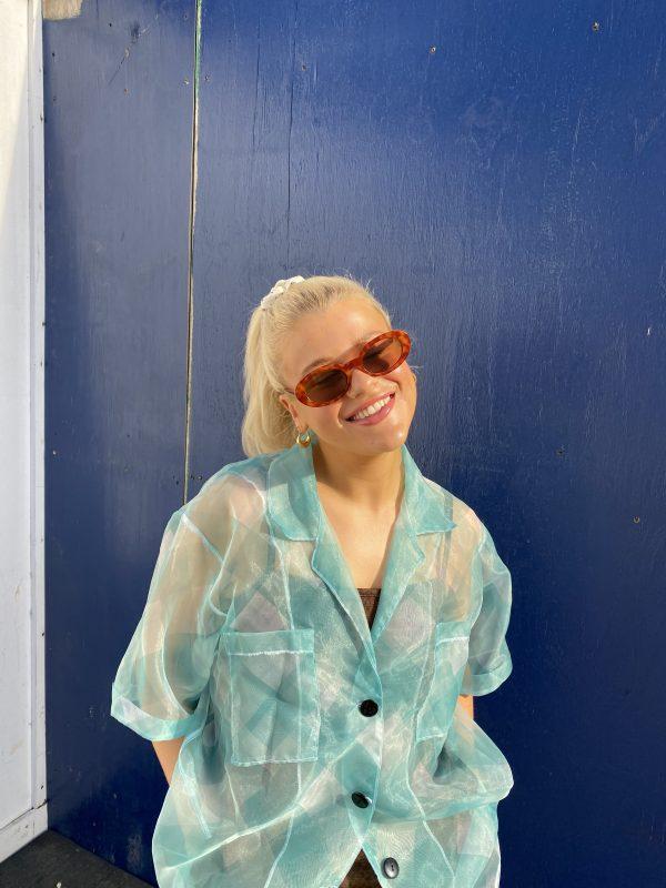 blue checkerboard shirt